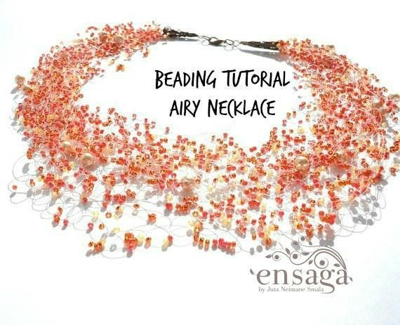 Beading pattern DIY necklace Tutorial Instructions airy