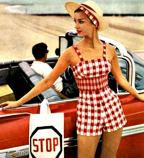 Summer playsuit fashion from Mademoiselle, 1959.  Can still see people wearing this today.