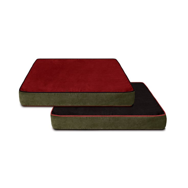 Buddy Beds Colorado Mountain Suede Microfiber Cover for memory foam dog beds.  Reversible!  Side 1:  Red with black piping; Side 2: Black with red piping.