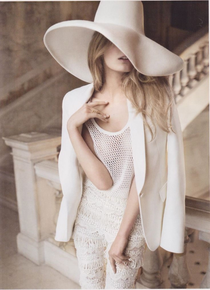 Image detail for -model constance jablonski vogue hat white suit crochet net model ...