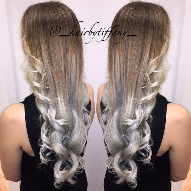 brown and silver ombre hair
