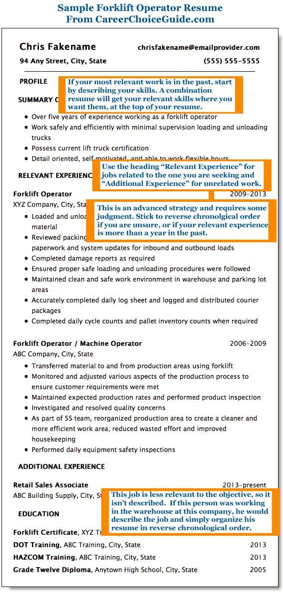 Sample forklift operator resume