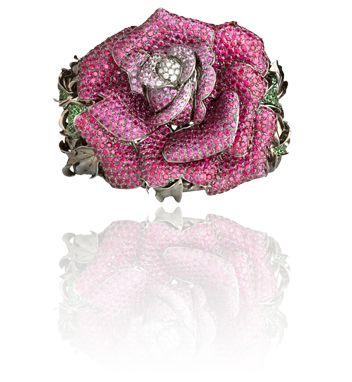 WENDY YUE - Rapacious Rose   18 Karat White Gold Bangle w/ White Diamond, Pink...