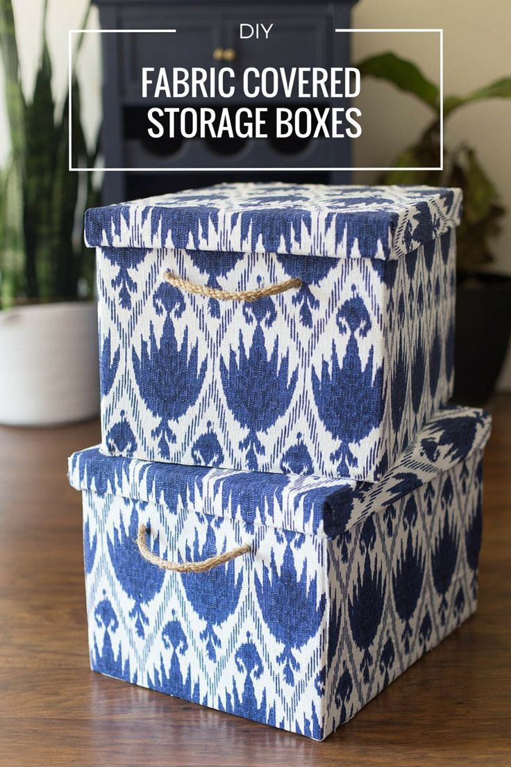 Cover old cardboard storage boxes with fabric for cute craft room/office storage