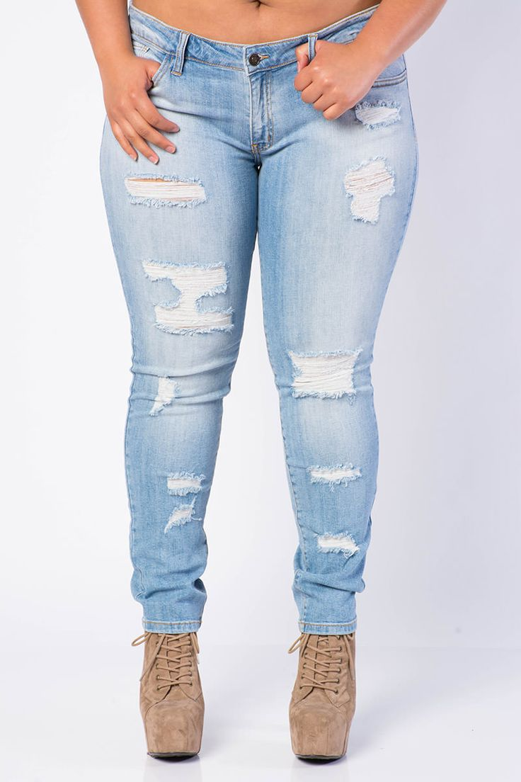 Plus Size Perfect Distressed Jeans $30.99