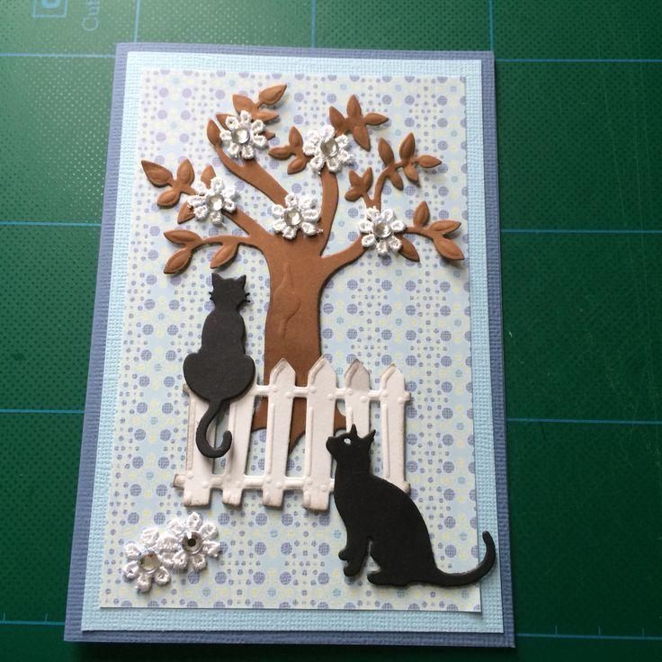Kort/card katte/cat Træ Hegn