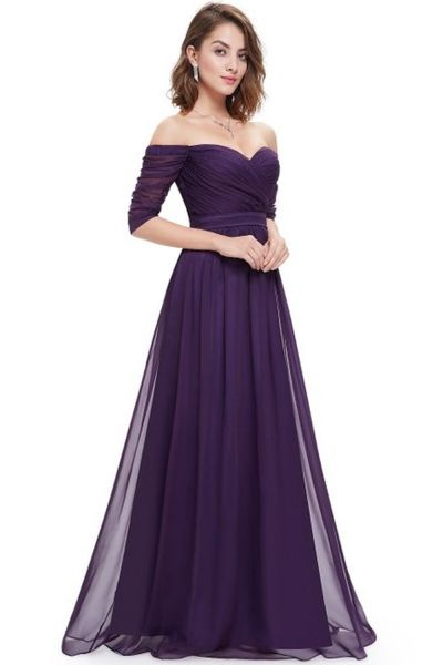 Women's Off Shoulder Evening Gown With Sweetheart Neckline OASAP.com