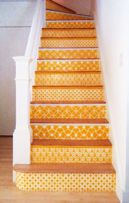 mediterranean beach house: Ideas, Paintings Stairs, Stairs Risers, Colors, Basements Stairs, Stairca, House, Stencil, Stairways