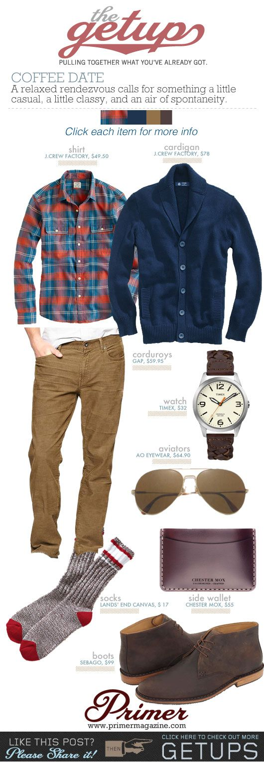 "The Getup: Coffee Date | Primer // @Jarrod Loudermilk click on this and check out all the other ""getups"" they've got - some great ideas for men's fashion, mostly casual styles, which are tough to find."