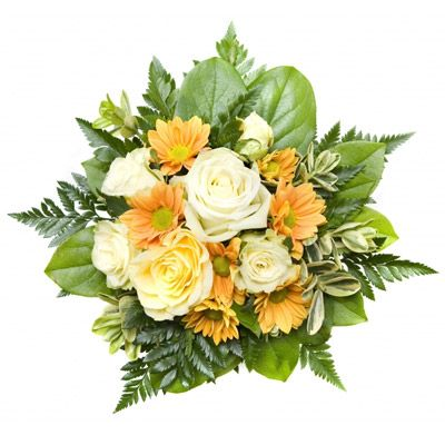 Send this elegant bouquet of cream roses and yellow colored marguerite with green designs for only $85. For more please visit http://www.flowersnext.com/florist/category/sympathy.asp