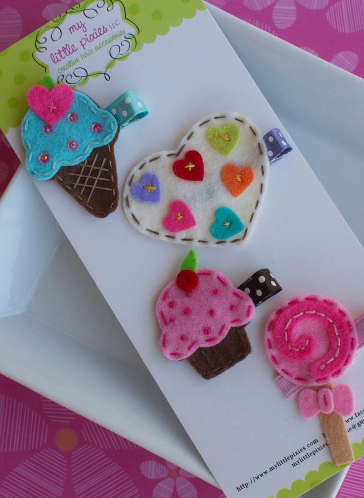 Sweet Treats Felt Hair Clip Collection Gift Set- Ice Cream, Candy Heart, Cupcake, Lollipop