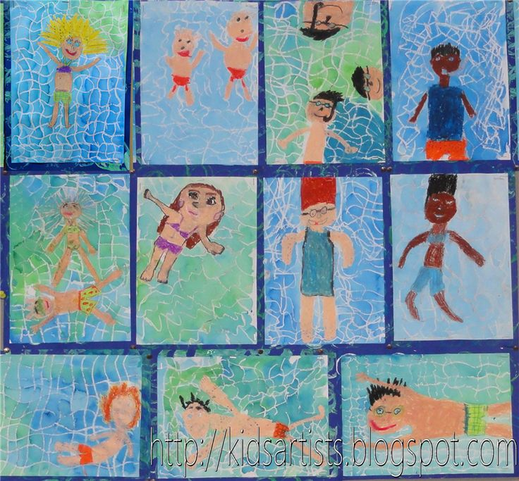 The students draw one or more people in swimsuits and colour them with oil pastels. Use white oil pastel to draw a water pattern in the background, consisting of wavy horizontal, vertical and diagonal lines.  Paint the picture with blue and/or green diluted coloured ink. The swimmers and the white lines will not resist the ink.