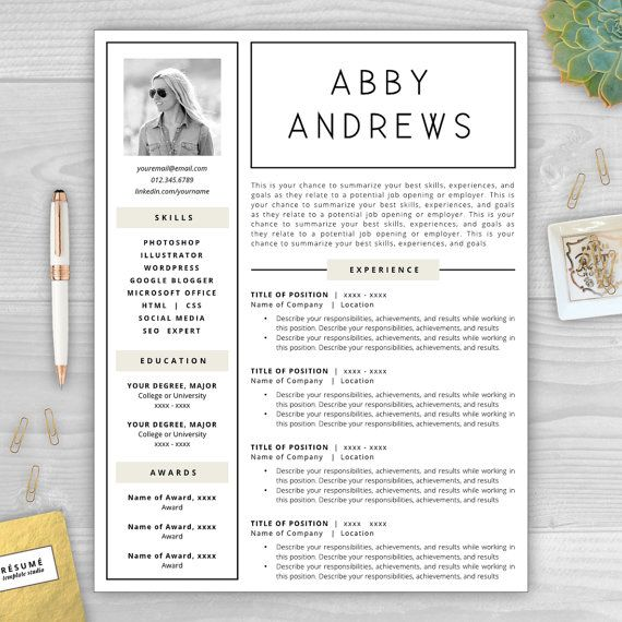 17 best Resumes with Photos images on Pinterest Cover letter - cover letter and resume template