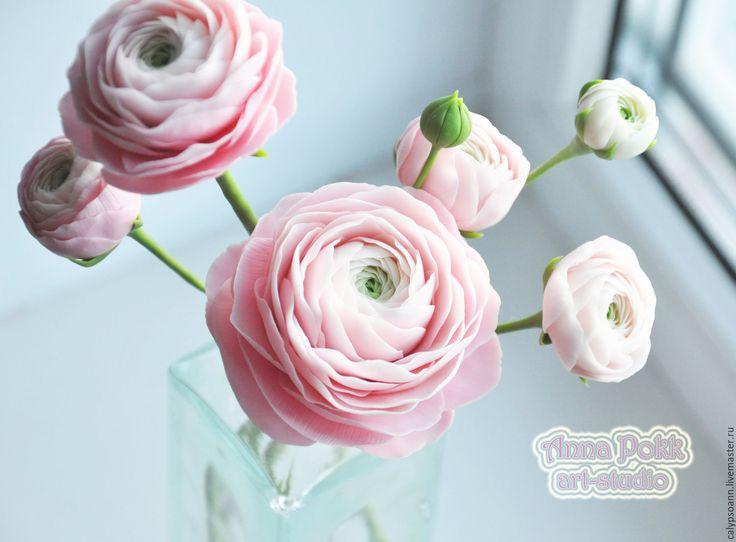 Купить Веточки ранункулюсов - полимерная глина, ранункулюс, цветы из глины, ранункулюс из глины, Холодный фарфор