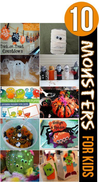 Make, create and play with these 10 Halloween monsters with the kids! Kids will love the fun and spooky monsters for Halloween!