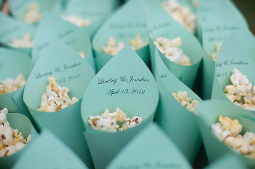 something blue...tiffany blue popcorn holders with the name and date of the wedding