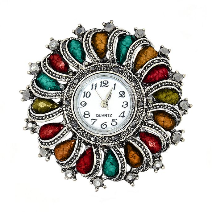 Fornitura - Esfera de reloj - Sol - Multicolor - Plata Antigua (1 Uds.) - Beads Perles Boutique