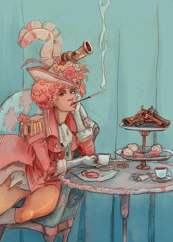 Thee voor twee Franse revolutionaire steampunk illustratie