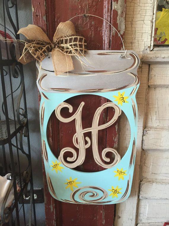 Mason Jar Initial door hanger Door Hangers by DoorCreationsbyJess