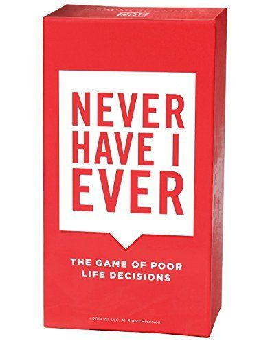 Never Have I Ever, the Game of Poor Life Decisions - Only Get this Card Game if You Want Tears Running Down Your Face from Gut Busting Laughs, Outrageous Fun and to Be The Hit of Every Party From This Day Forward. Not for the Faint of Heart. Played on The Ellen DeGeneres Show. INI http://smile.amazon.com/dp/B00N36C6BE/ref=cm_sw_r_pi_dp_asLtwb1BJB4E5