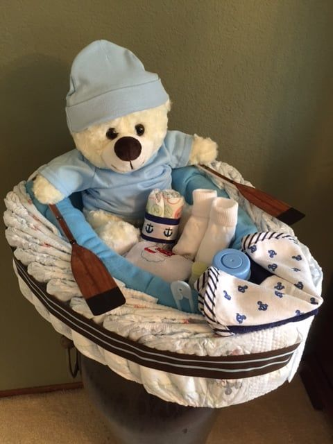 Photo of Diaper Cakes & Towel Cakes by Renee - Union City, CA, United States. Our Diaper Boat is a new item, loaded with baby items or add your own.