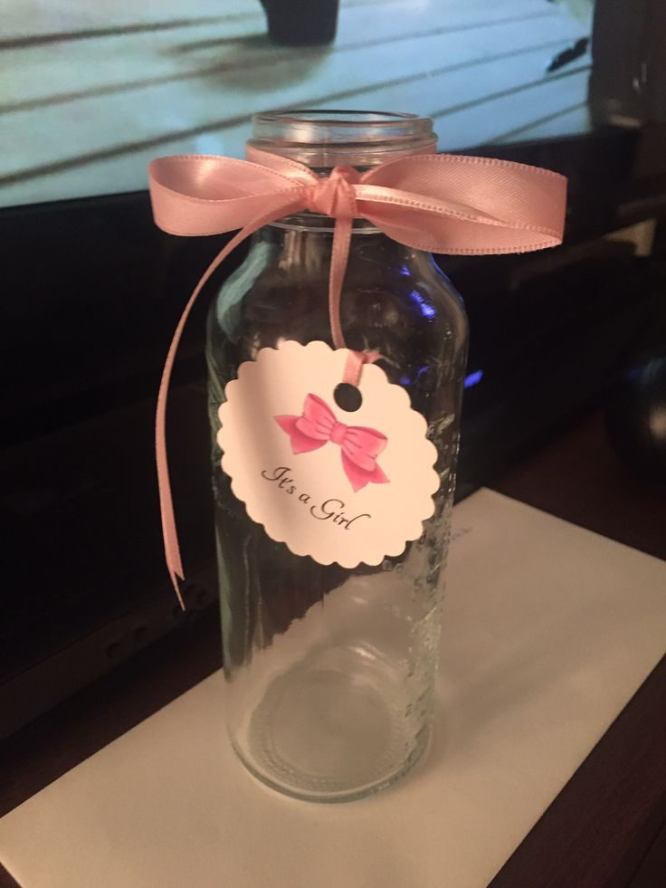 Baby.shower it's a girl Dr Browns glass bottle used as a vase for decorating