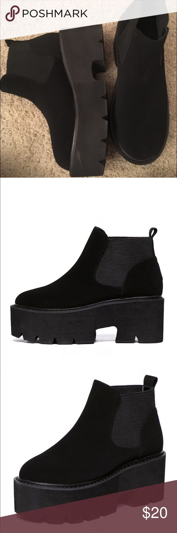 Chunky Platform Chelsea Shoes I love these so much and they do fit they're just too tight 😭 i'm a size 7 so these would fit a 6.5/6 best Shoes