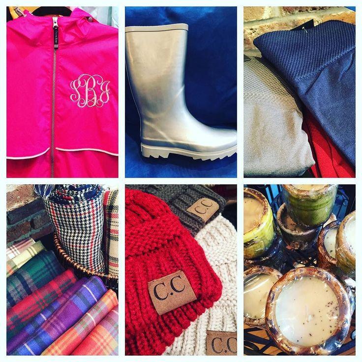 Rainy day wants..... Monogrammed Charles River Rain Jacket- $56 Silver West Blvd Boots- $36.95 Fleece lined leggings- $14.95 Swan Creek mini candles-$5.95 C.C beanies- $12.95 Plaid blanket scarves- $21.95 We ship! 501-620-4009  #madisonsbluebrick #boutiqueshopping #rainyday #rainboots #leggings #swancreekcandles #ccbeanie #blanketscarves #madforplaid