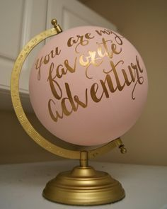 """Hand Painted 12"""" Wedding Globe, Shabby Chic, Gold Hand Lettering -- Custom Made To Order by PrettyLittleDoodads on Etsy www.etsy.com/..."""