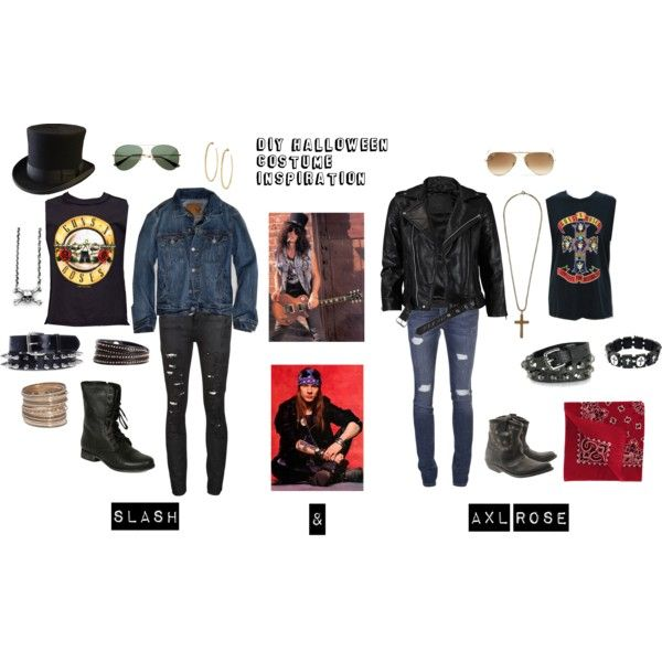 DIY Halloween Costume Inspiration- Slash & Axl Rose by reaganbkelly on Polyvore featuring moda, VIPARO, Each X Other, Current/Elliott, Steve Madden, Golden Goose, H&M, Linea Pelle, Stella & Dot and Zadig & Voltaire