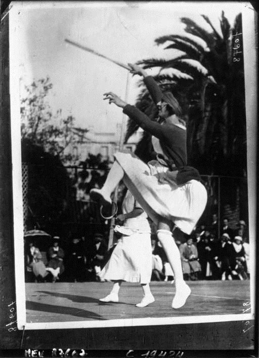 Ms. Suzanne Langlen, tennis player in action by Agence Meurisse, 1921. National Library of France, Public Domain