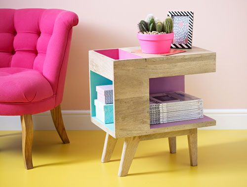 Retro-style Oliver wood side table by Oliver Bonas