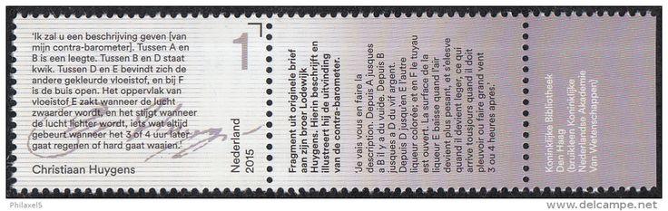 Nederland - uitgiftedatum 17 augustus 2015 – Brieven schrijven – Christiaan Huygens – tekstfragment -