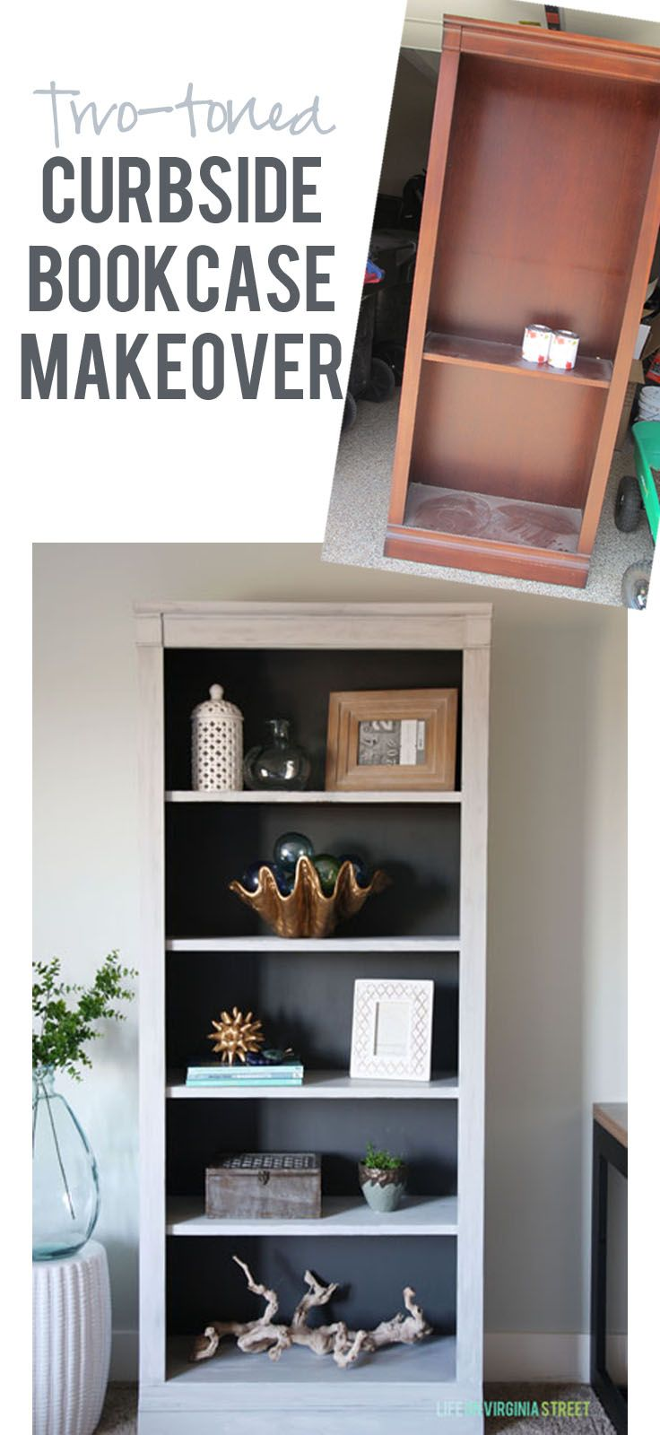 Two-toned Curbside Bookcase Makeover - easy update with chalk based paint!