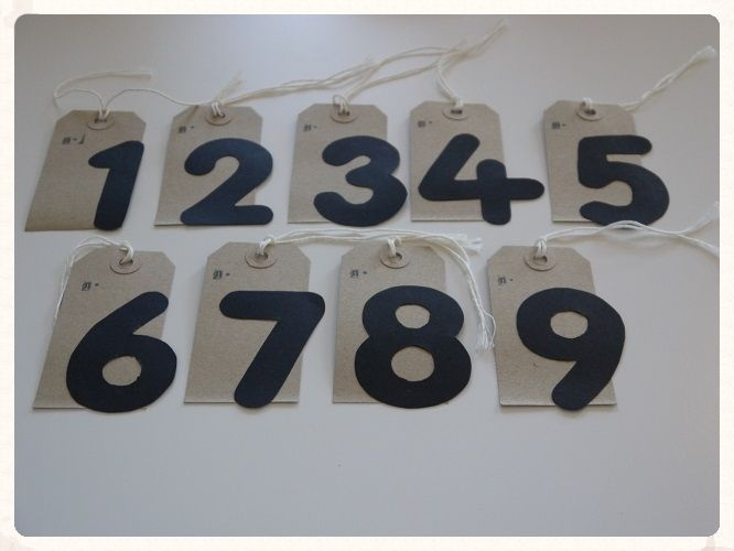 Table number tags. This set of nine brown tags contain table numbers from 1 through to 9. They are a great inexpensive way to number your wedding reception tables. Only £4.99. www.picketfenceweddings.co.uk