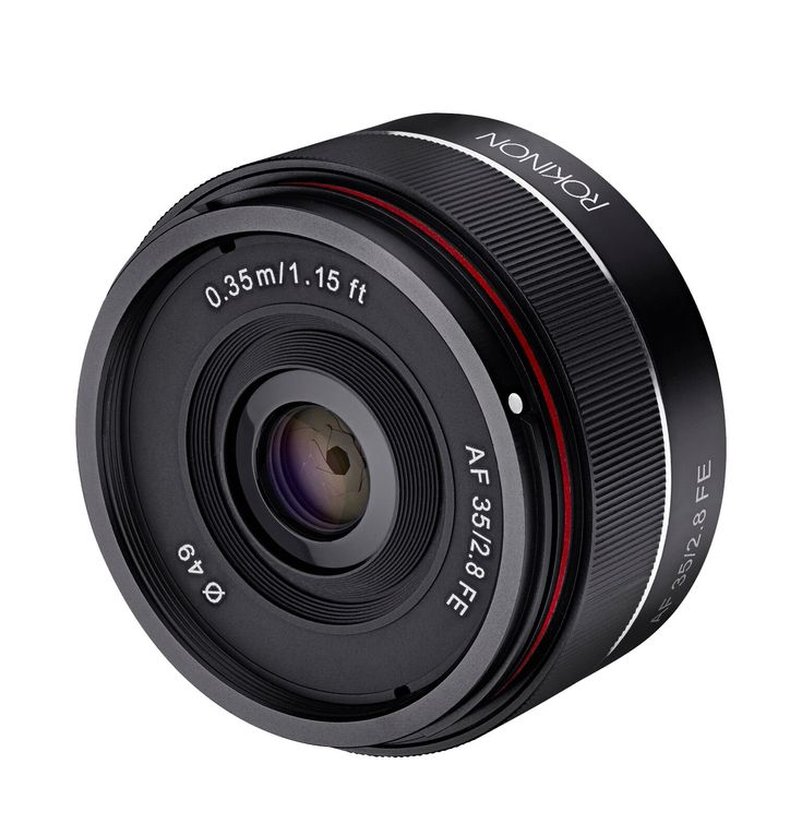 Rokinon IO35AF-E 35mm f/2.8 Ultra Compact Wide Angle Lens for Sony E Mount Full Frame, Black