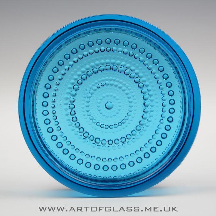 Nuutajarvi Notsjo 'Kastehelmi' blue glass bowl/dish by Oiva Toikka