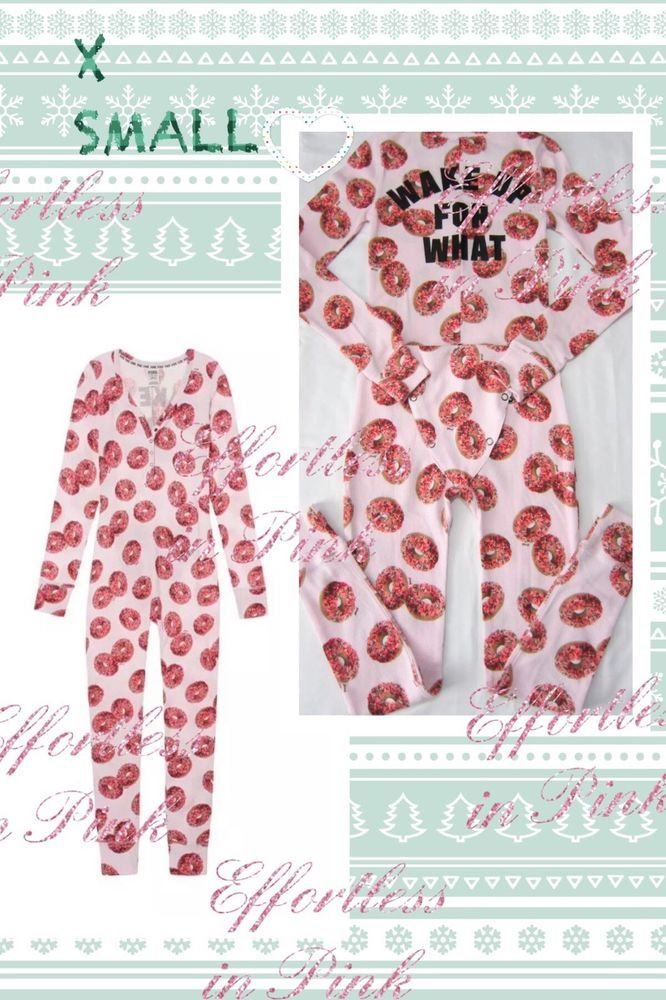 9356d2daec7 Victoria Secret PINK onesie 2018 XS Donut Long Jane thermal pajama one piece  NEW