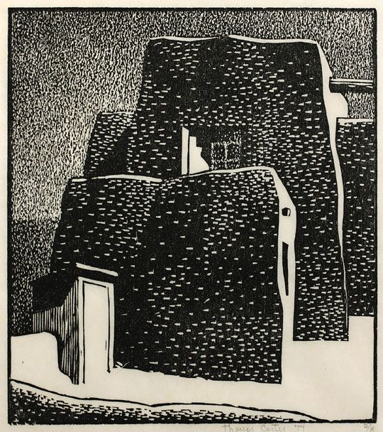 "THAYER CARTER  Church of San Jose de Garcia, 1974, woodcut print, 8.75"" x 9"""