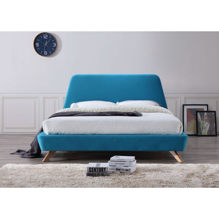 Omax Decor Henry Mid-Century Modern Upholstered Queen-Size Platform Bed (Queen -