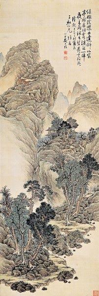 심전 안중식 (1861-1919), 1909년 작, 춘경산수. 환상적으로 치솟게 그린 암산 형태는 바로 1910년대에 접어들면서 작가만의 독특한 화풍으로 정형화되는 수법의 선례로, 안중식 산수화 수법의 특징적 변화가 이 무렵부터 시작되었음을 말해주는 작품이다.
