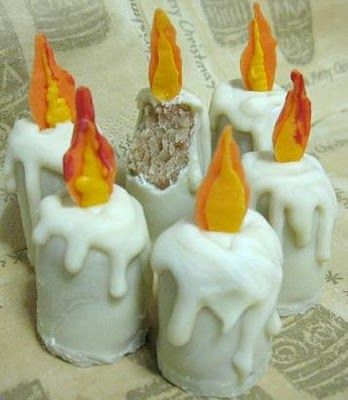 Yummies for Imbolc. How would I do this? Cupcakes for the candle base? A more glaze-y frosting. Use chocolate to make the flames.
