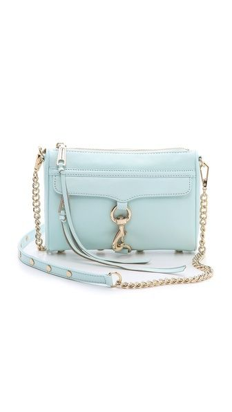 super cute pastel blue colour of rebecca minkoffs mini mac! love this pretty blue so pale and lovely!