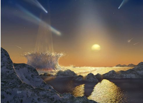 An artist's impression of the late heavy bombardment period. (Credit: NASA/Karl Kofoed)