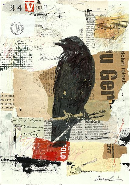 print art canvas best gift collage mixed media art painting gift raven crow autographed by - Picture Collages