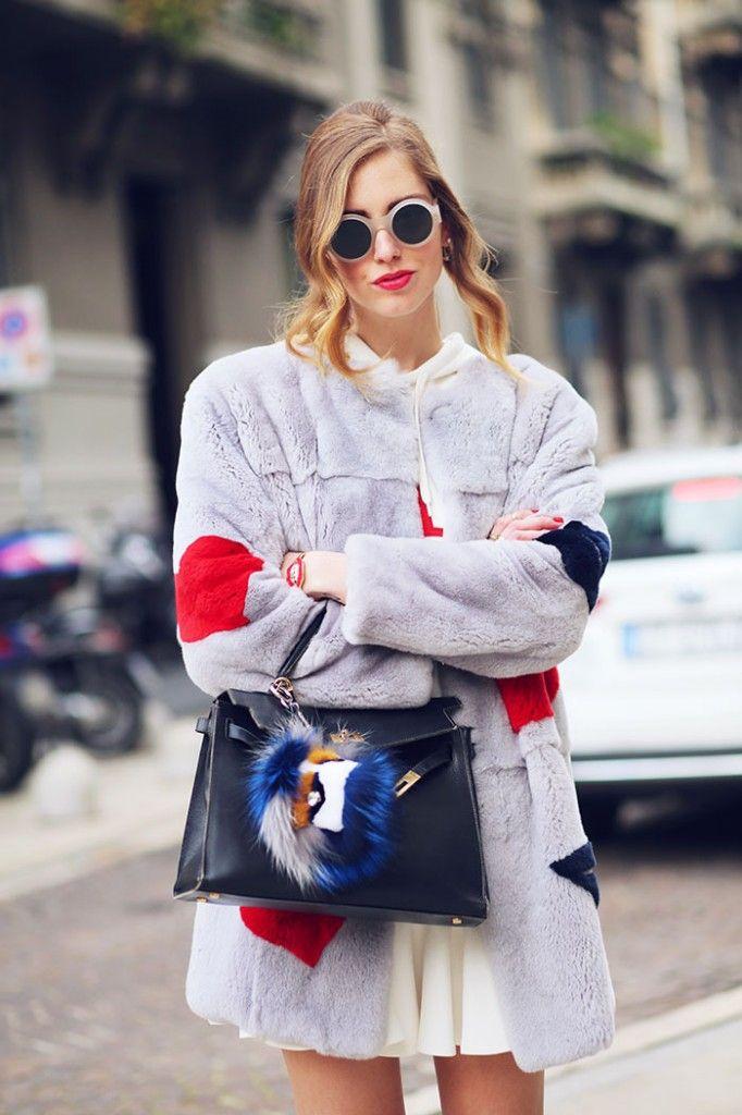 Chiara Ferragni :: MSGM fur coat, David Delfin dress, Celine sunglasses, Hermes Kelly bag, Fendi bag bug