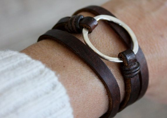 Leather Bracelet/ Eternity Symbol Bracelet/Sterling by IseaDesigns