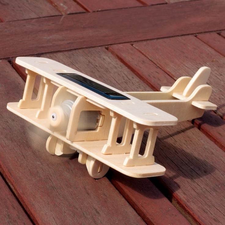 Slot this wooden biplane model together and then taxi it to a sunny spot to make the propeller whirl. This solar powered marvel makes it a model with a difference!