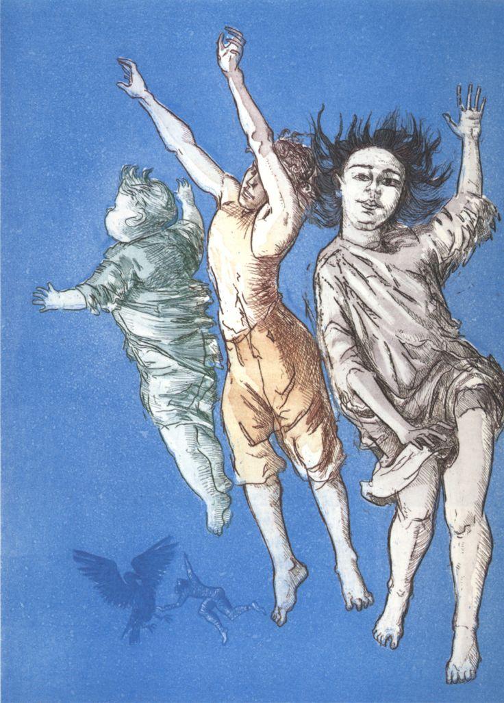 Crianças voando Paula Rego intaglio