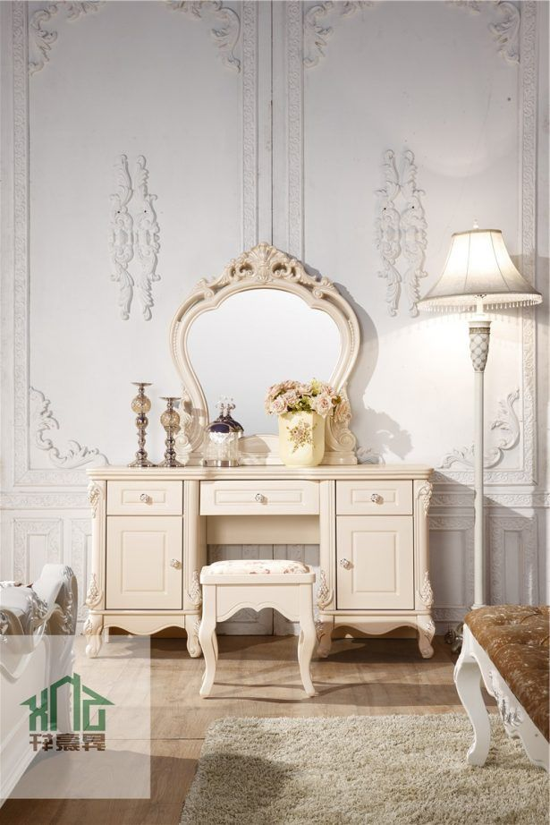 Bedroom Marvellous French Furniture Two Cabinet Curved Framed Mirror Wall Mounted Dressing Table White